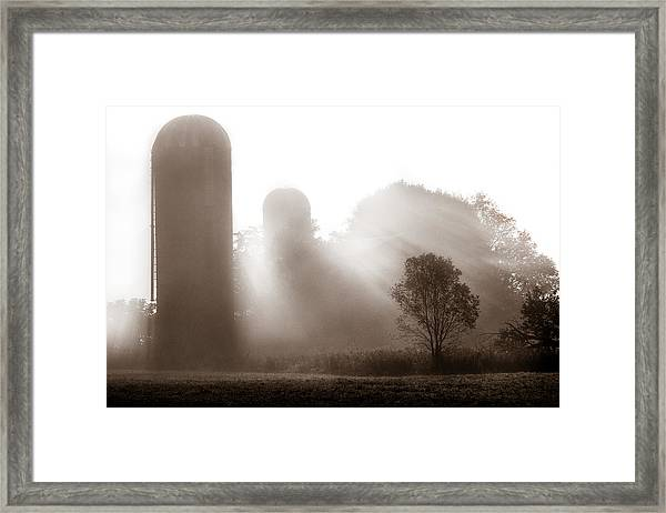 Morning Fog Burning Off The Farm Framed Print