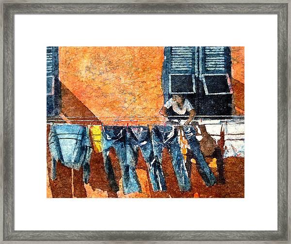 Morning In Monterosso  Framed Print