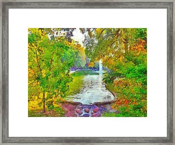 Mirror Lake. The Ohio State University Framed Print