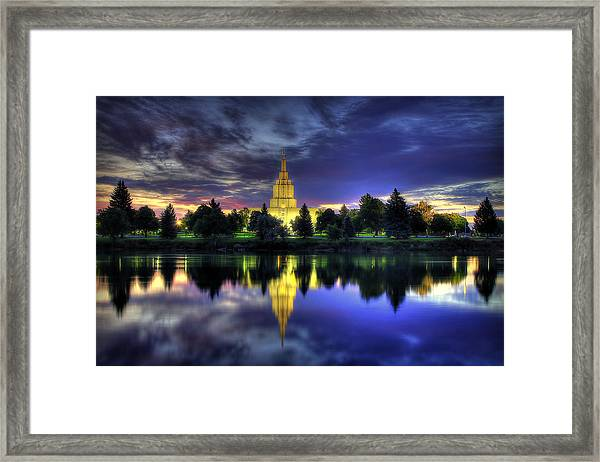 Morning Reflections Of Idaho Falls Temple  Framed Print