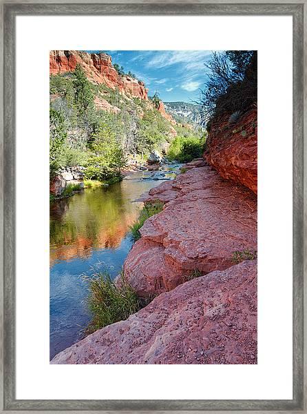 Morning Sun On Oak Creek - Slide Rock State Park Sedona Arizona Framed Print
