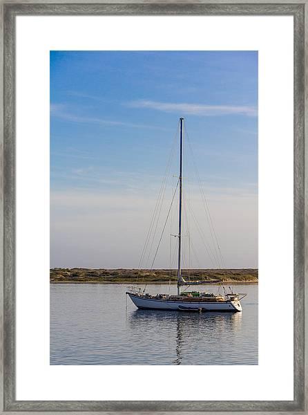 Sailboat At Anchor In Morro Bay Framed Print
