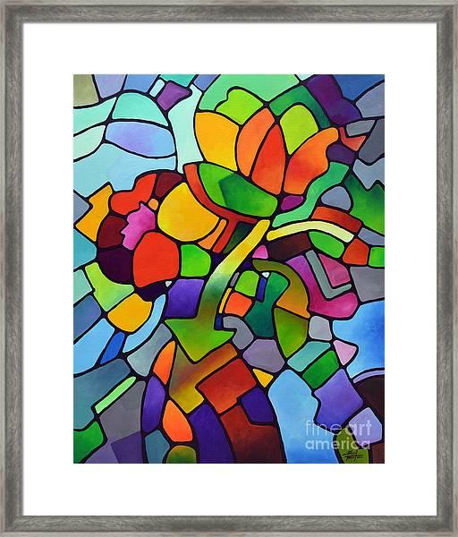 Mosaic Bouquet Framed Print