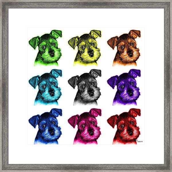 Mosaic Salt And Pepper Schnauzer Puppy 7206 F - Wb Framed Print