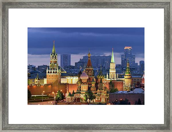 Moscow Kremlin And St Basil Cathedral Framed Print