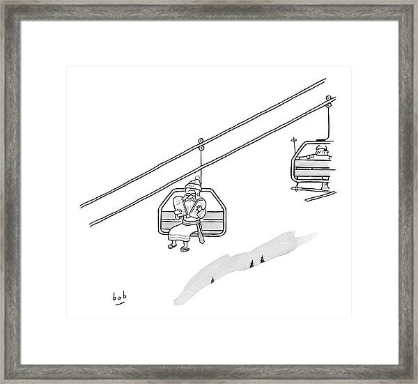 Moses Travels Down A Mountain On A Ski-lift Framed Print