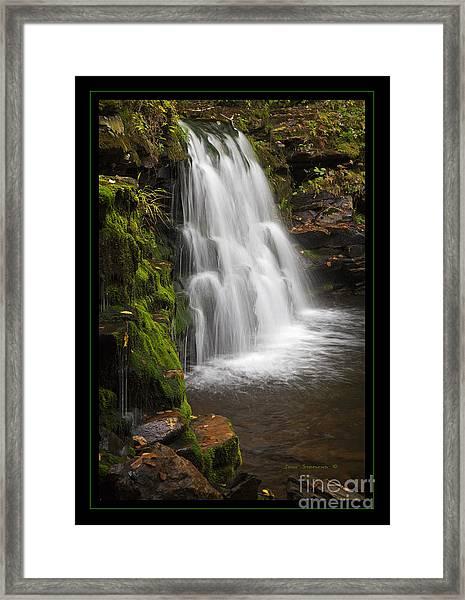 Mossy Wilderness Waterfall Cascade Framed Print