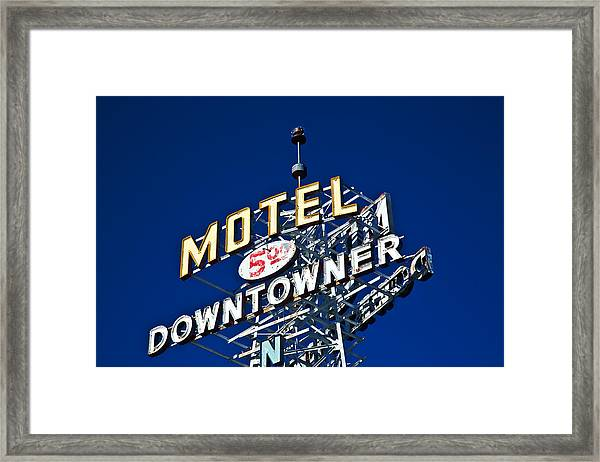 Motel Downtowner Framed Print