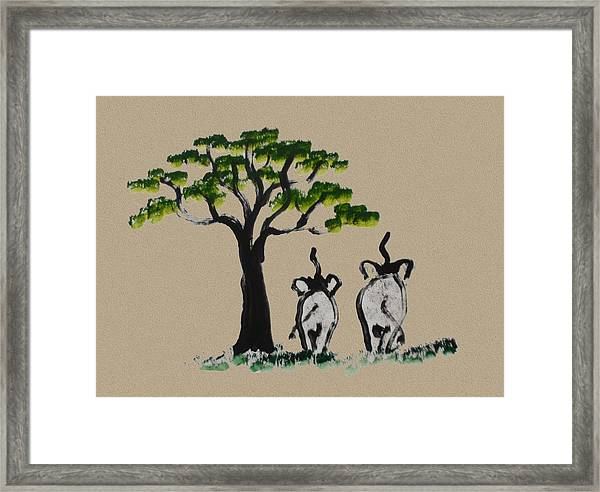 Just The Two Of Us - Brown Framed Print