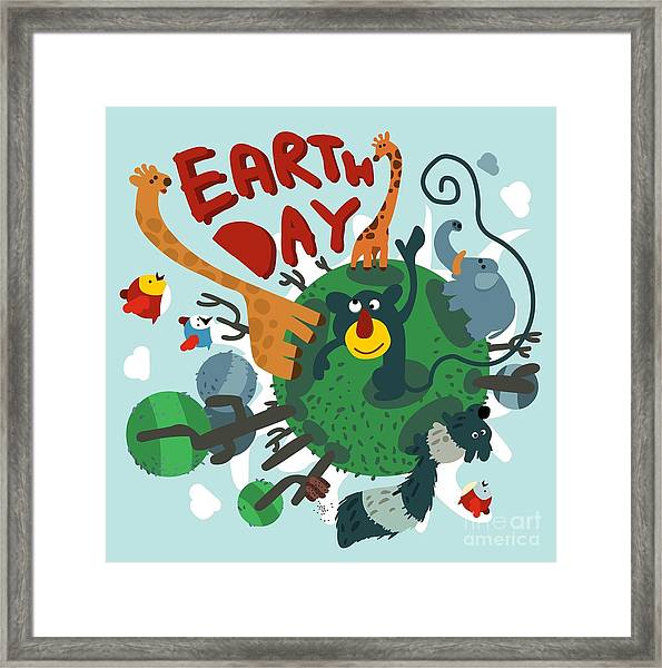 Mother Earth Day. Vector Illustration Framed Print