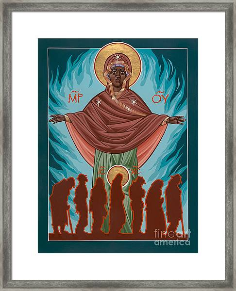 Mother Of Sacred Activism With Eichenberg's Christ Of The Breadline Framed Print
