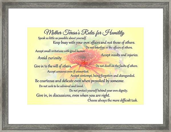 Mother Theresa's Rules For Humility Framed Print