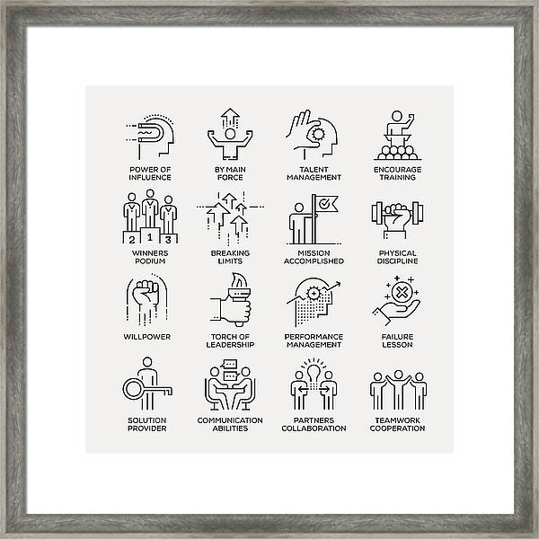 Motivation Icon Set - Line Series Framed Print by Enis Aksoy