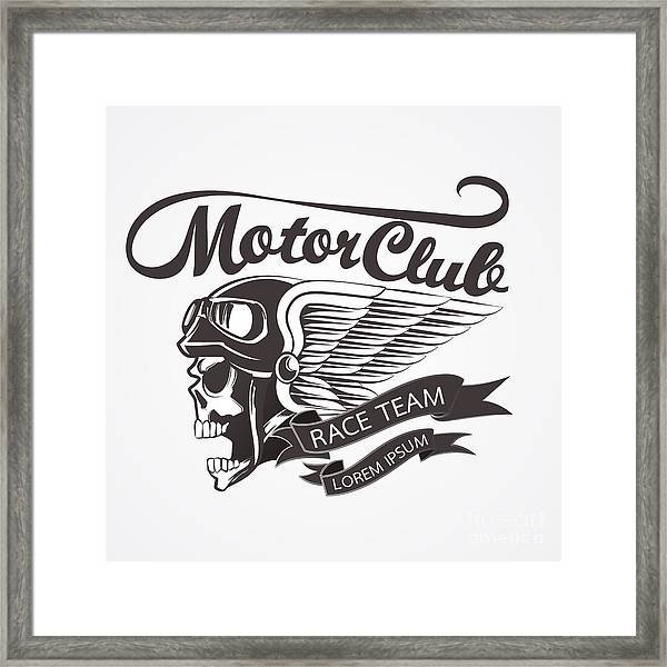 Motor Skull Crest Graphic. - Vector Framed Print