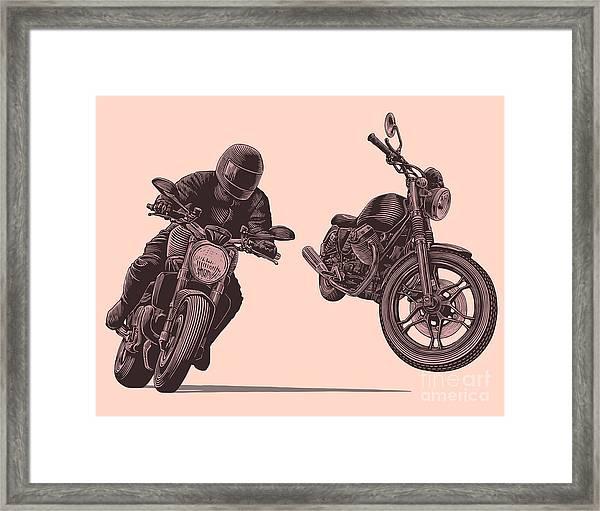 Motorcycle. Hand Drawn Engraving Framed Print