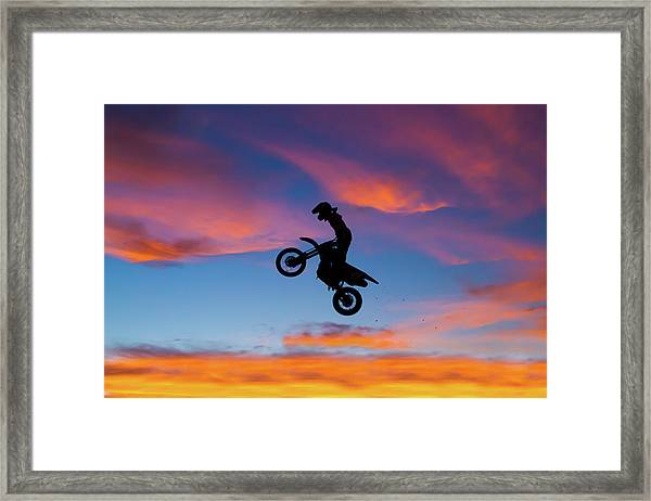 Motorcycle Jump At Gorgeous Sunset Framed Print