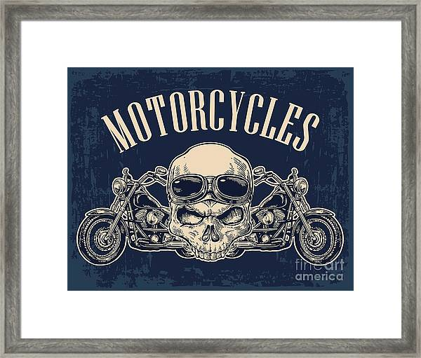 Motorcycle Side View And Skull With Framed Print