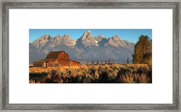Moulton Barn - The Tetons Framed Print by Stephen  Vecchiotti