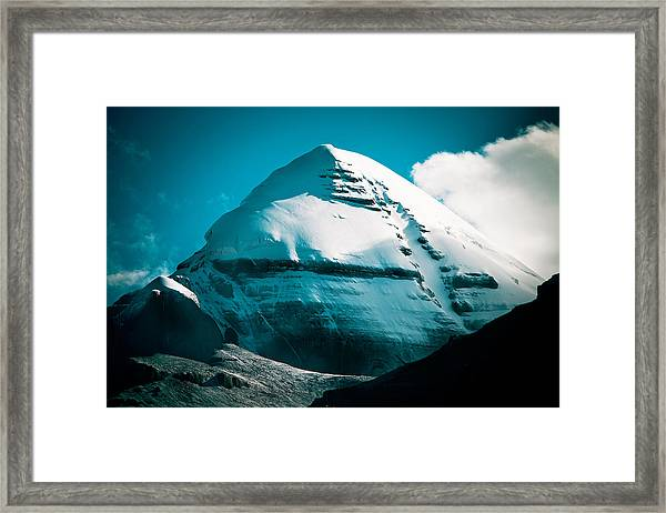Framed Print featuring the photograph Mount Kailash Home Of The Lord Shiva by Raimond Klavins