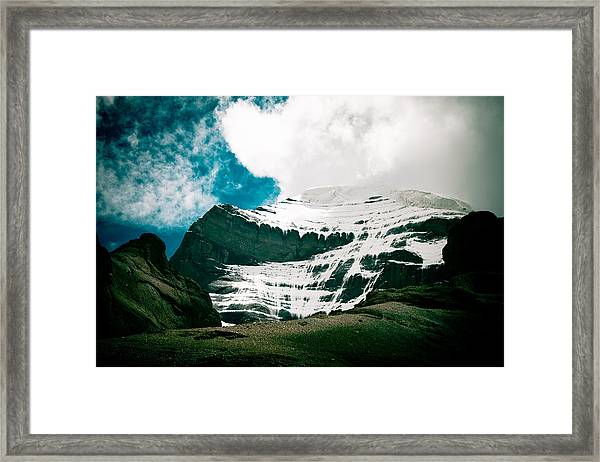Framed Print featuring the photograph Mount Kailash Western Slope Home Of The Lord Shiva by Raimond Klavins
