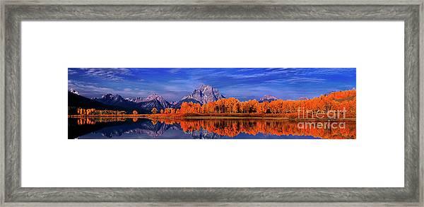 Mount Moran And Fall Color Grand Tetons Framed Print