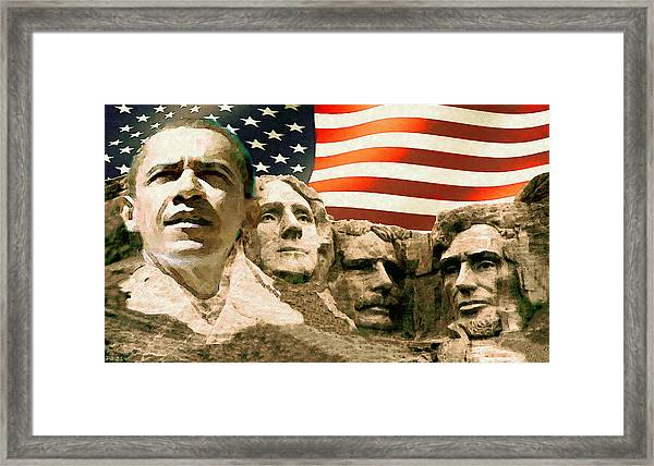 Barack Obama On Mount Rushmore - American Art Poster Framed Print