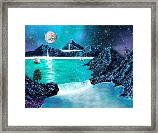Mountain Bay Framed Print by Michael Rucker