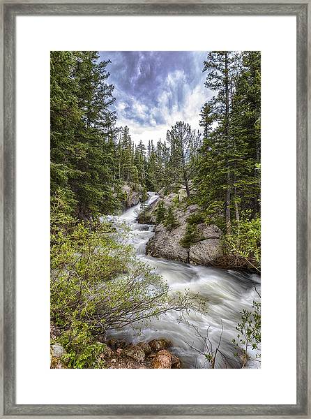 Mountain Cascades  Framed Print by Garett Gabriel