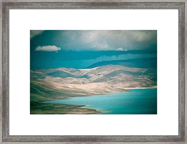 Mountain Lake In Tibet Peiku-tso Framed Print