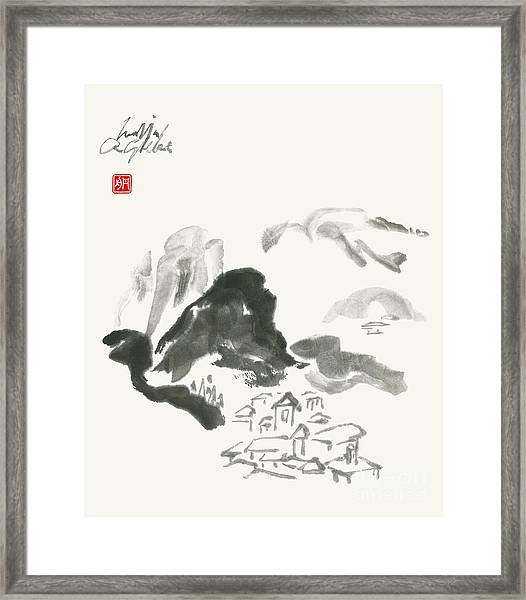 Mountain Landscape In Zen Style Framed Print