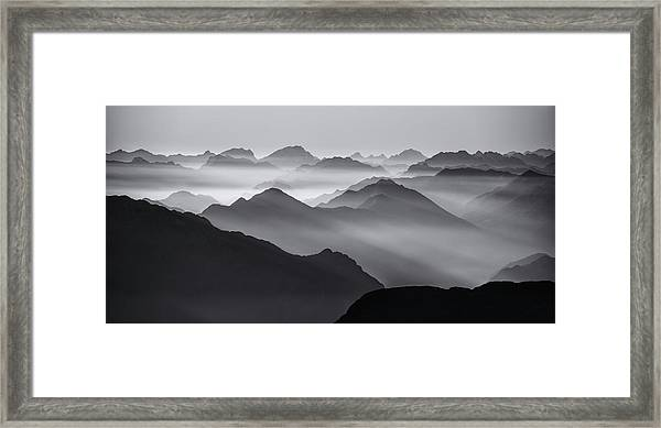 Mountain Layers Framed Print by Ales Krivec