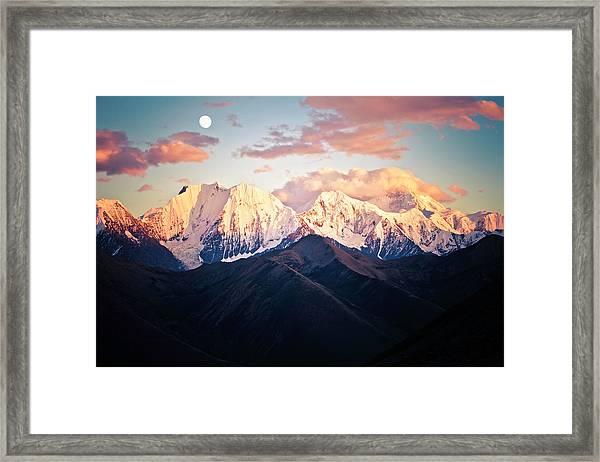 Mountain Peak In Sunset With Moonrise Framed Print