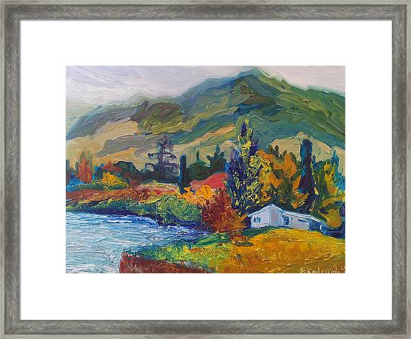 Mountain Painting Oil Landscape Ekaterina Chernova Framed Print
