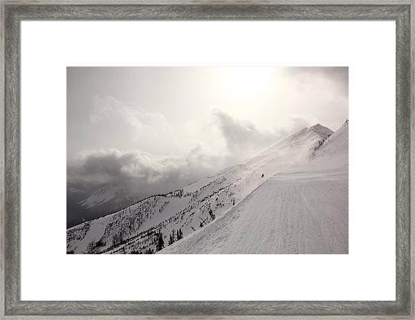 Mountain Snow Storm Approaching Ski Run Framed Print