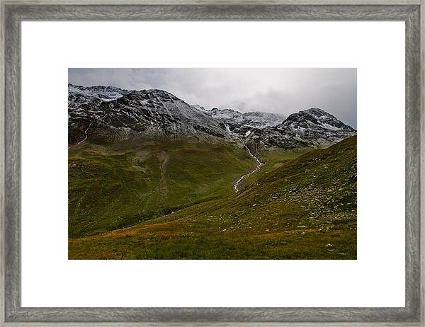 Mountainscape With Snow Framed Print