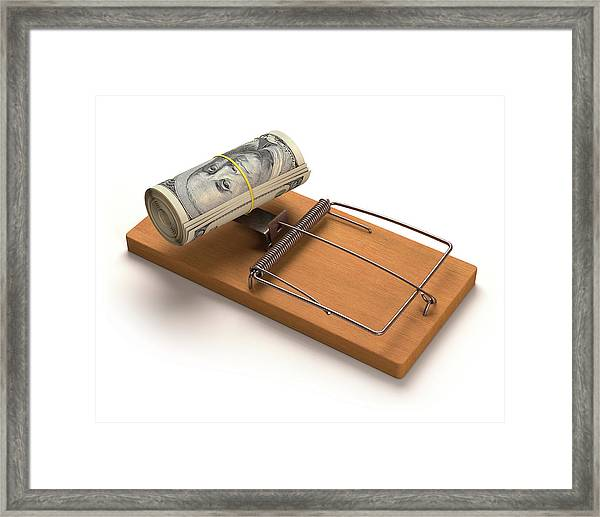Mouse Trap With Bank Notes Framed Print by Ktsdesign