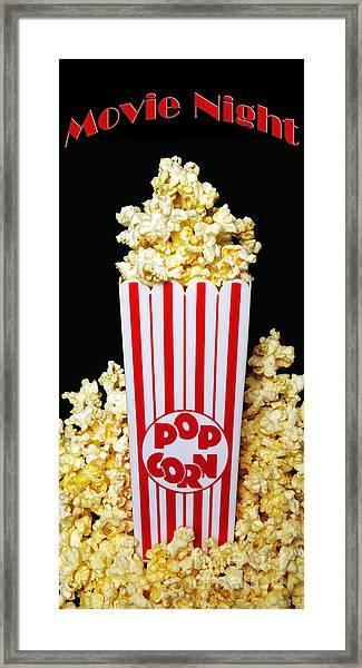 Movie Night Pop Corn Framed Print