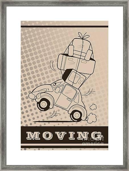 Moving Car Framed Print by Fun Way Illustration