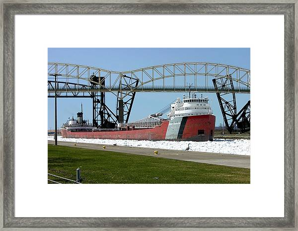 Moving Through The Ice To The Soo Locks Framed Print