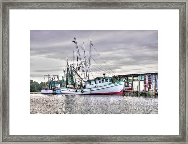 Mrs Pudgy Shrimp Docks Framed Print