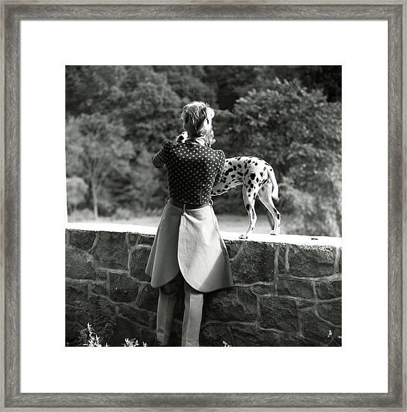 Mrs. William Phelps With Her Dalmatian Framed Print