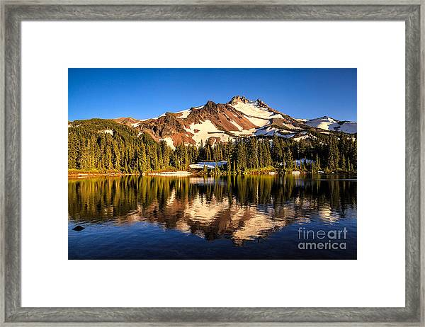 Mt. Jefferson Reflected In Alpine Lake Framed Print