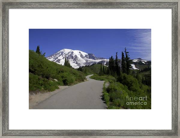 Mt Rainier Painted Framed Print