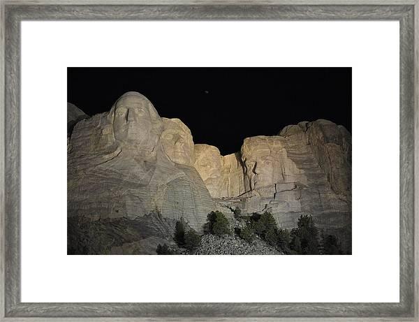 Mt. Rushmore At Night Framed Print