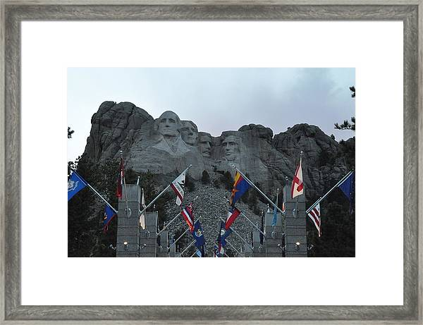 Mt. Rushmore In The Evening Framed Print