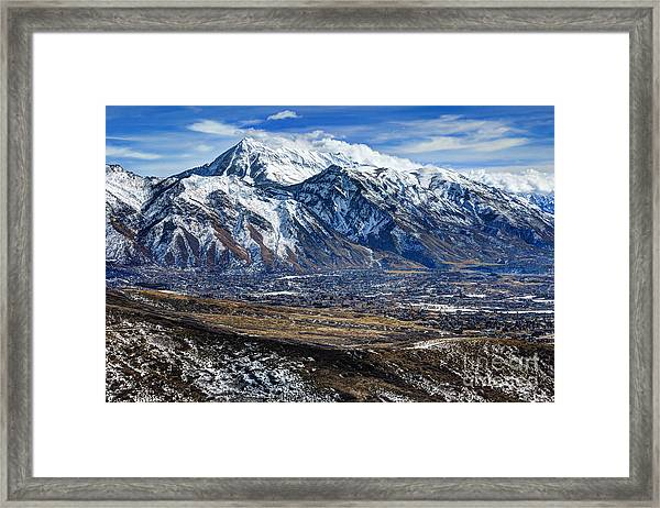Mt. Timpanogos In Winter From Utah Valley Framed Print