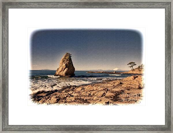 Mt.fuji Seen In The Sea Over Framed Print