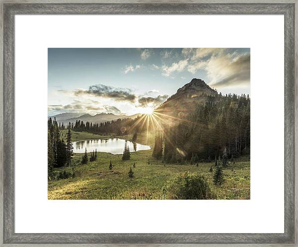 Mt.rainier In Sunset Framed Print by Chinaface