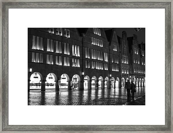 Cobblestone Night Walk In The Town Framed Print