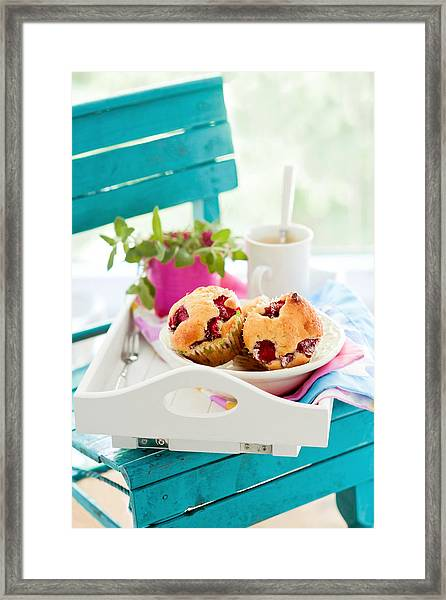 Muffins With Strawberries And White Framed Print